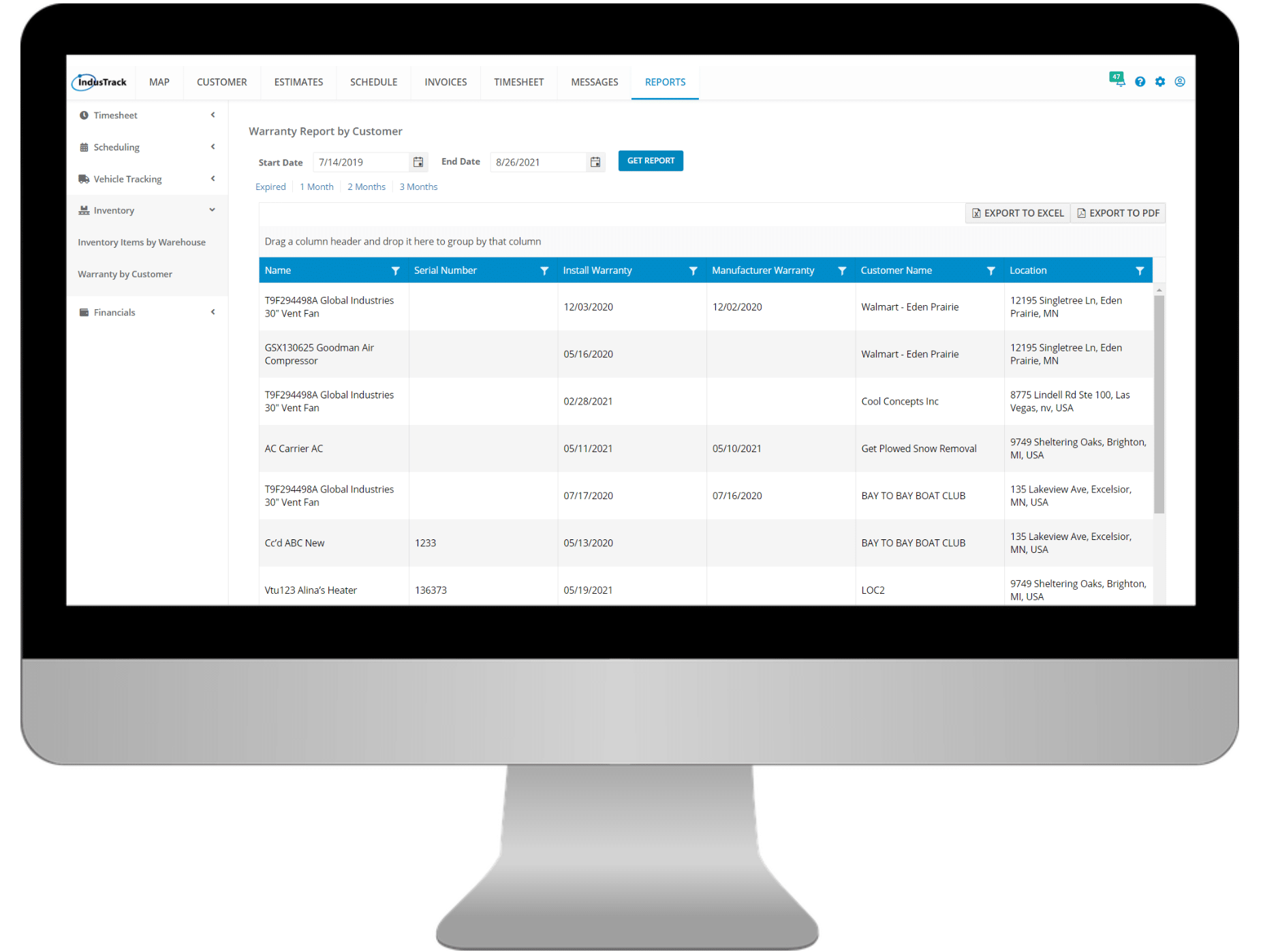 Inventory Report by Customer Monitor