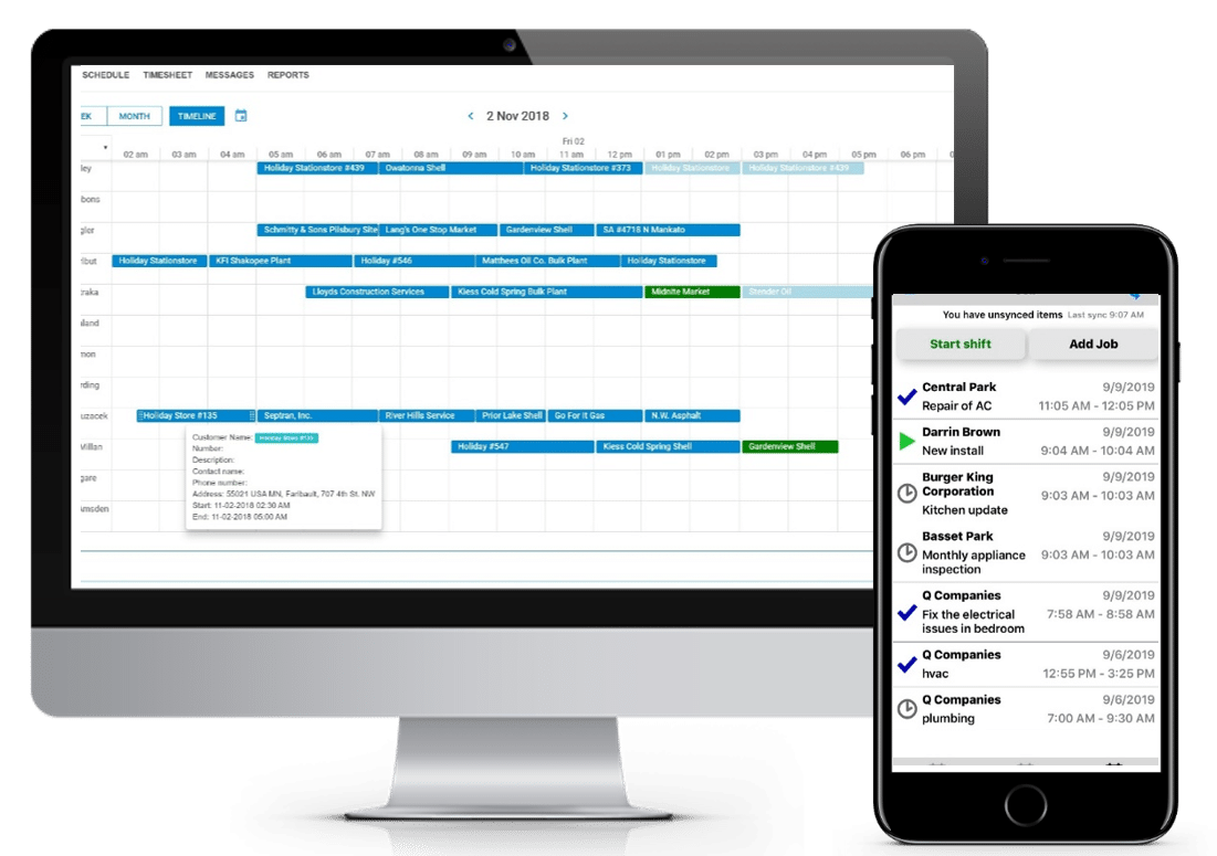Desktop and mobile field service management interfaces